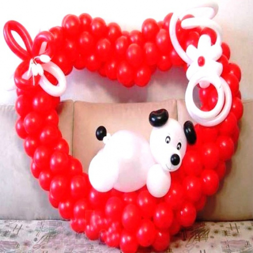 """Фигура из шаров """"Сердце с мишкой"""""""