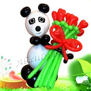 "Фигура из шаров ""Панда с букетом"""