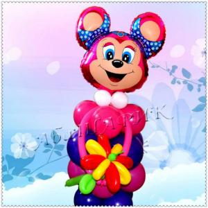 """Фигура из шаров """"Бабси-маус с цветочком"""""""