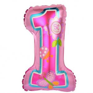 """Шар фольгированный """"Цифра 1 фольгированная. На палочке.  Первый день рождения Девочка"""""""