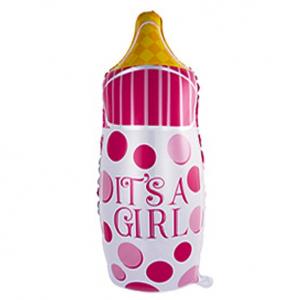 """Шар фольгированный """"Бутылка в горошек (розовый)"""""""