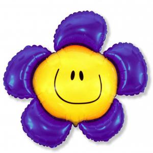 """Шар фольгированный """"Цветочек Солнечная улыбка (фиолетовый)"""""""