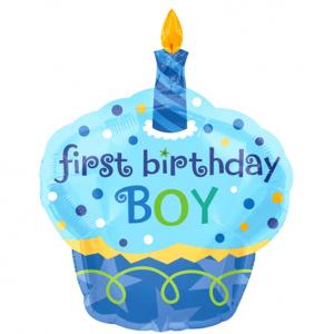 """Шар фольгированный """"Пирожное Первый день рождения мальчика"""""""