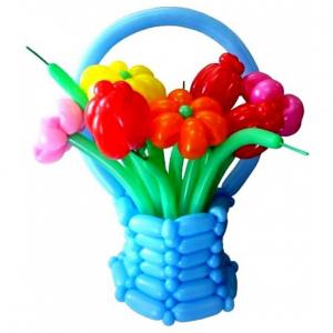 """Цветы из шаров № 63 """"Корзинка"""""""