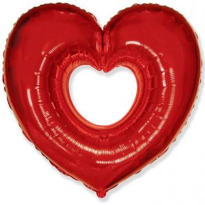 """Шар фольгированный """"Сердце в сердце (красный)"""""""