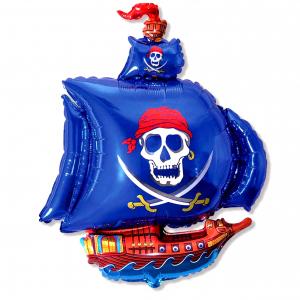 """Шар фольгированный """"Пиратский корабль (синий)"""""""