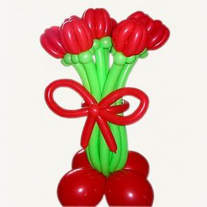 "Цветы из шаров № 38 ""Тюльпаны на подставке"""
