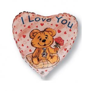 """Шар фольгированный """"Сердце Я люблю тебя. Мишка с розой"""""""