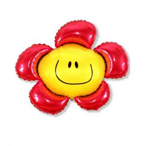 """Шар фольгированный на палочке """"Цветочек Солнечная улыбка (красный) """""""