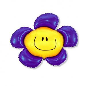 """Шар фольгированный на палочке """"Цветочек Солнечная улыбка (фиолетовый) """""""