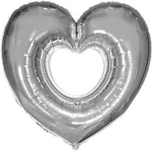 """Шар фольгированный """"Сердце в сердце (серебро)"""""""