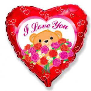 """Шар фольгированный """"Я тебя люблю Мишка с розами"""""""