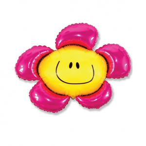 """Шар фольгированный на палочке """"Цветочек Солнечная улыбка (розовый) """""""