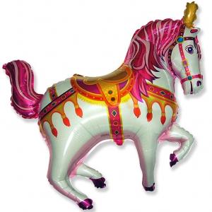 """Шар фольгированный """"Цирковая лошадь ( фуксия)"""""""