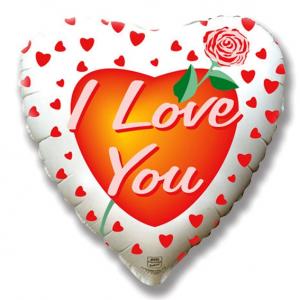 "Шар фольгированный ""Сердце Я тебя люблю Роза"""