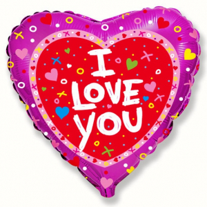 """Шар фольгированный """"Сердце Я тебя люблю Роза""""Сердце Я тебя люблю Сердечки и крестики"""""""