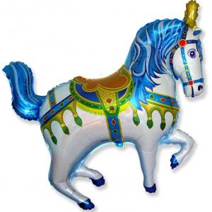 """Шар фольгированный """"Цирковая лошадь (синий) """""""