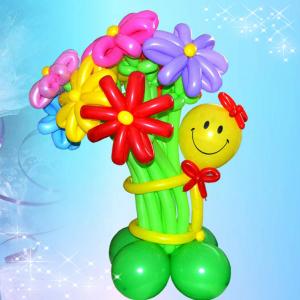"""Цветы из шаров № 40 """"Смайл нарядный с букетом"""""""