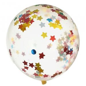 Шар гелиевый ( конфетти разноцветные звезды) 48 см.