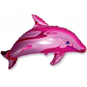 """Шар фольгированный """"Дельфин (фуксия)"""""""