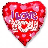"""Шар фольгированный """"Сердце сияющее Я люблю тебя"""""""