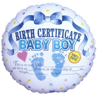 Круг Сертификат о рождении мальчика
